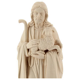 Jesus the Good Shepherd statue in natural wood s2