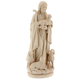 Jesus the Good Shepherd statue in natural wood s4