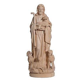 Imágenes de Madera Pintada: Estatua Jesús el buen pastor madera natural