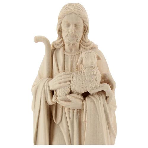Statue Jésus Bon Pasteur bois naturel 2