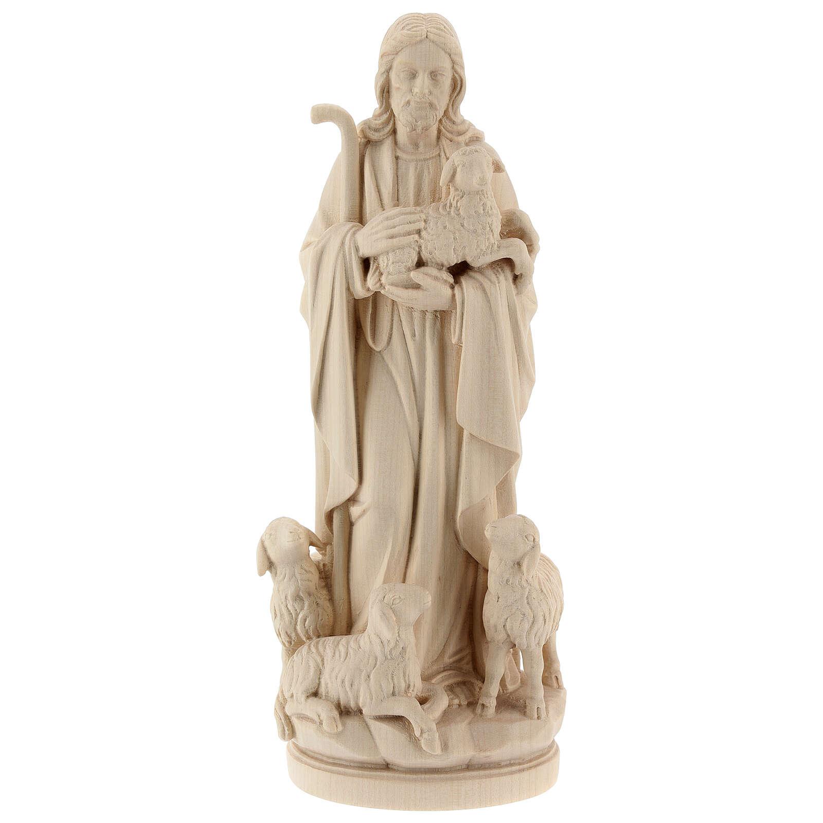 Statua Gesù il buon pastore legno naturale 4