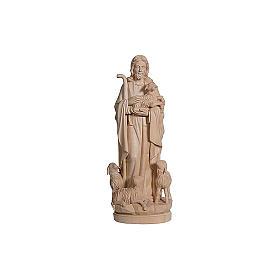 Statua Gesù il buon pastore legno naturale s2