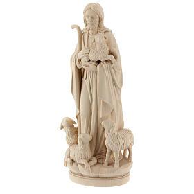 Statua Gesù il buon pastore legno naturale s3