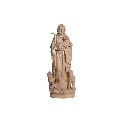 Statua Gesù il buon pastore legno naturale 2
