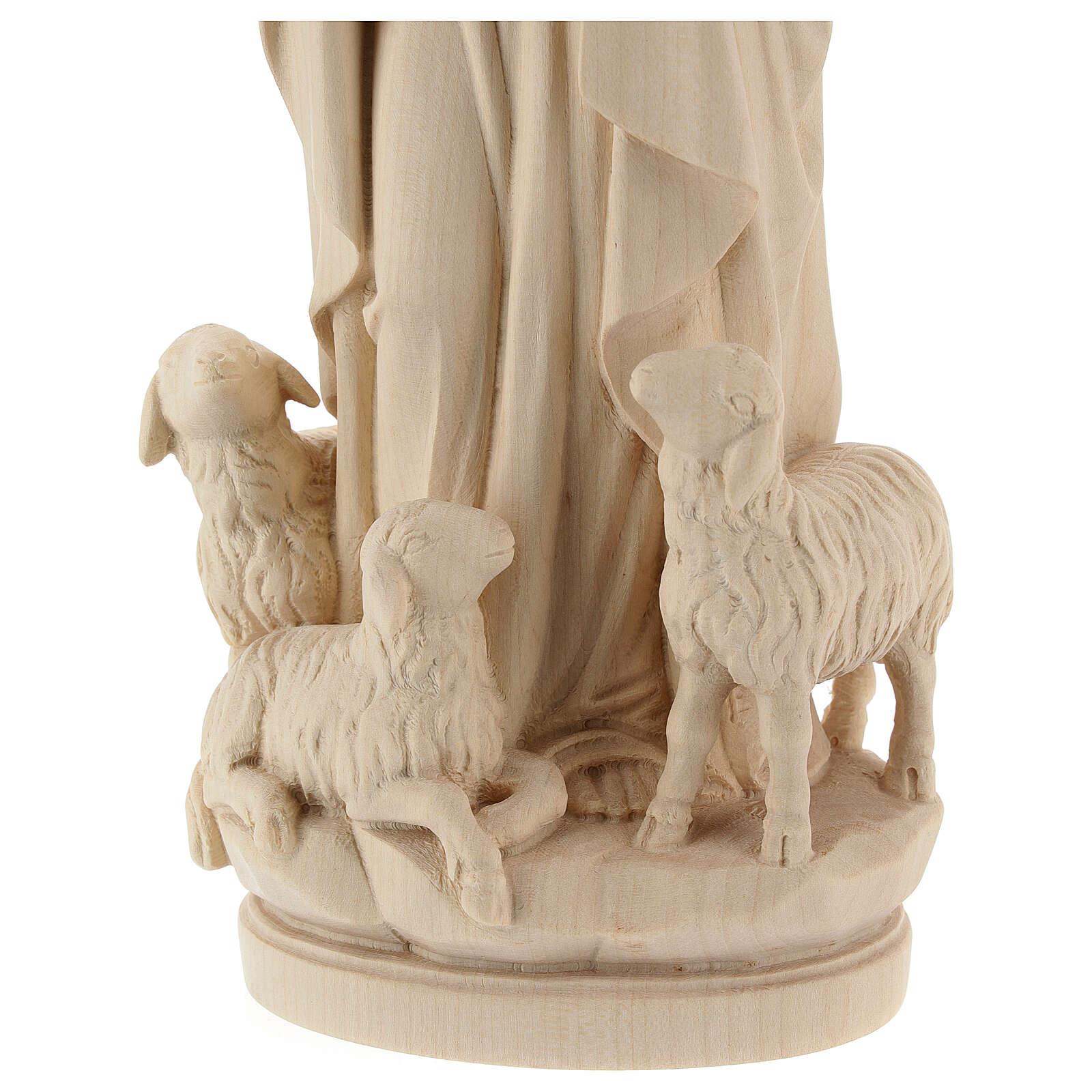 Figura Jezus dobry pasterz drewno naturalne 4