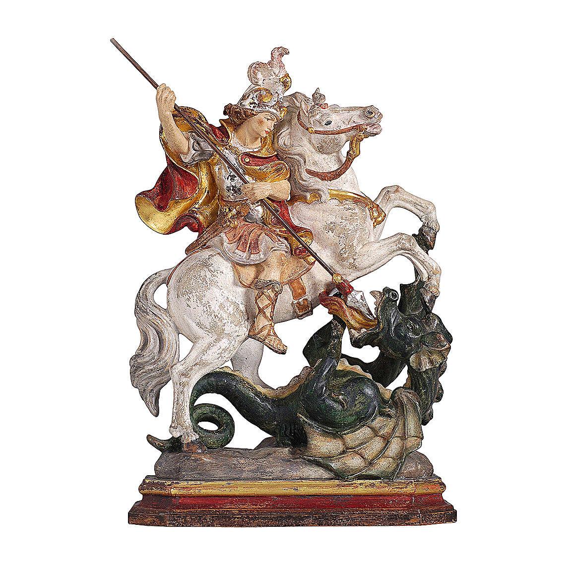 San Giorgio su cavallo legno color oro zecchino Valgardena 4