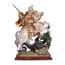 San Giorgio su cavallo legno color oro zecchino Valgardena s1