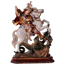Hand painted wooden statues: Saint George on horse in wood coloured in pure gold Val Gardena