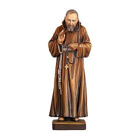 Padre Pio legno colorato Valgardena s1