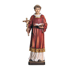 Hand painted wooden statues: Saint Louis in coloured wood of Valgardena