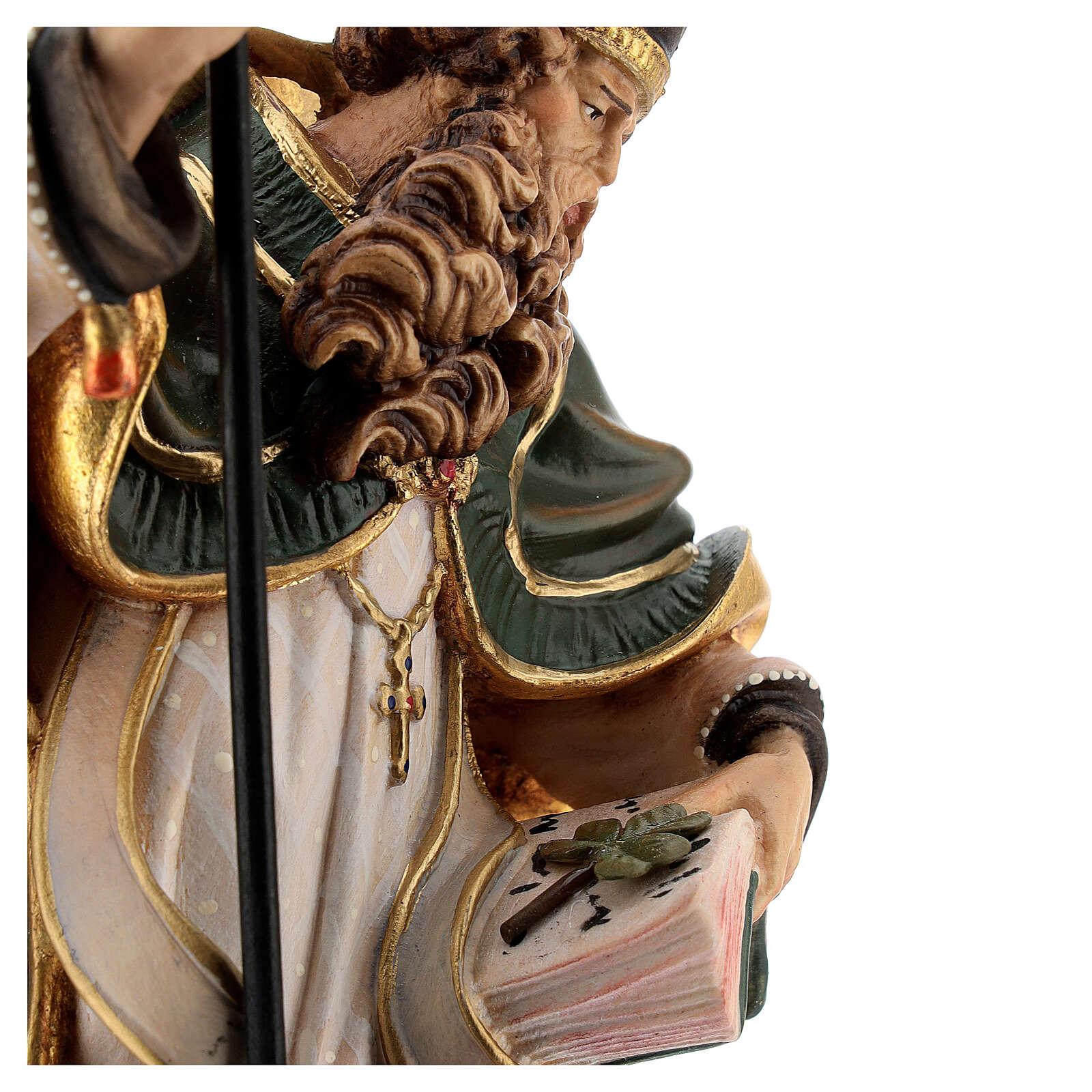 Coloured statue of Saint Patrick in wood Valgardena 4