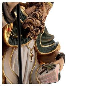 Coloured statue of Saint Patrick in wood Valgardena s2