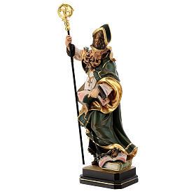 Coloured statue of Saint Patrick in wood Valgardena s4