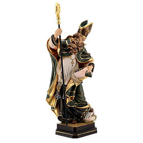 Coloured statue of Saint Patrick in wood Valgardena s6