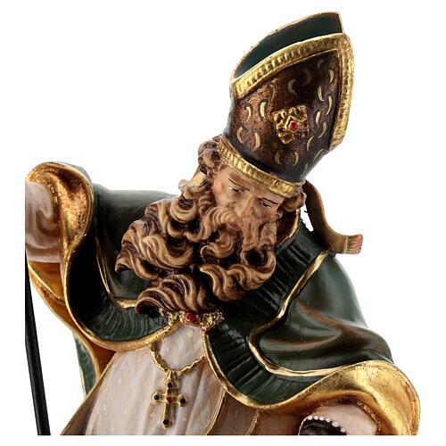 Coloured statue of Saint Patrick in wood Valgardena 3