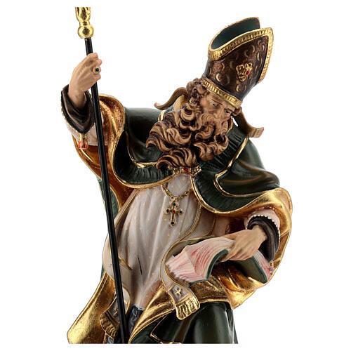 Coloured statue of Saint Patrick in wood Valgardena 5