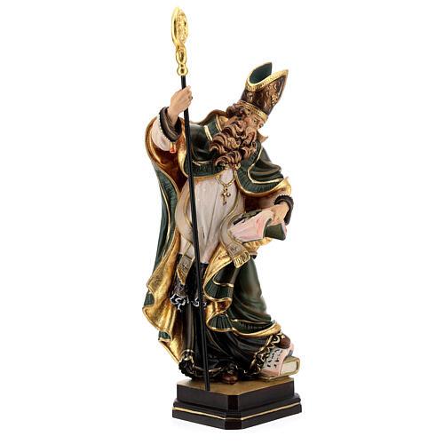 Coloured statue of Saint Patrick in wood Valgardena 6