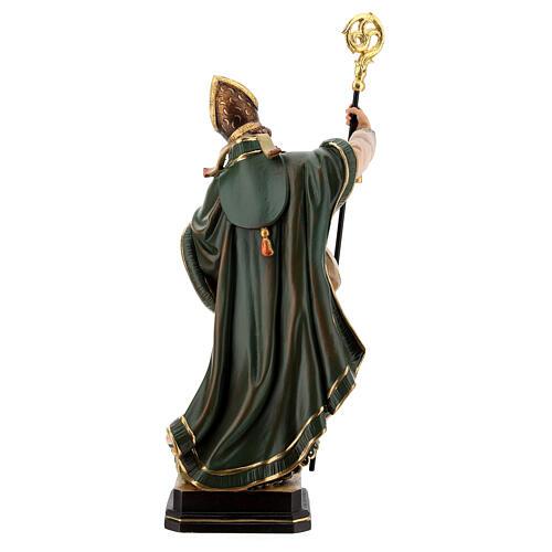 Coloured statue of Saint Patrick in wood Valgardena 8