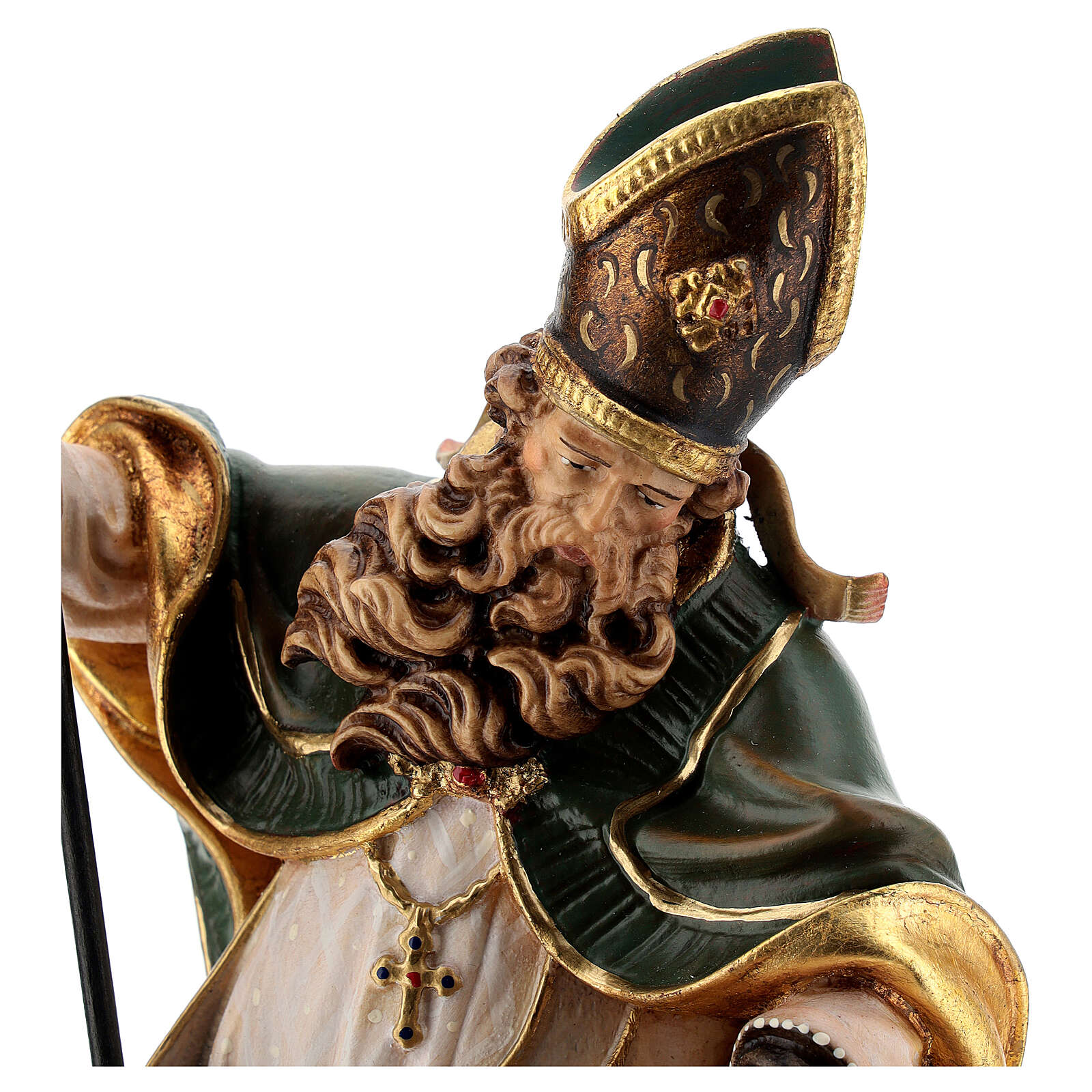 Coloured statue of Saint Patrick in wood Valgardena 4