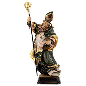 Coloured statue of Saint Patrick in wood Valgardena s1
