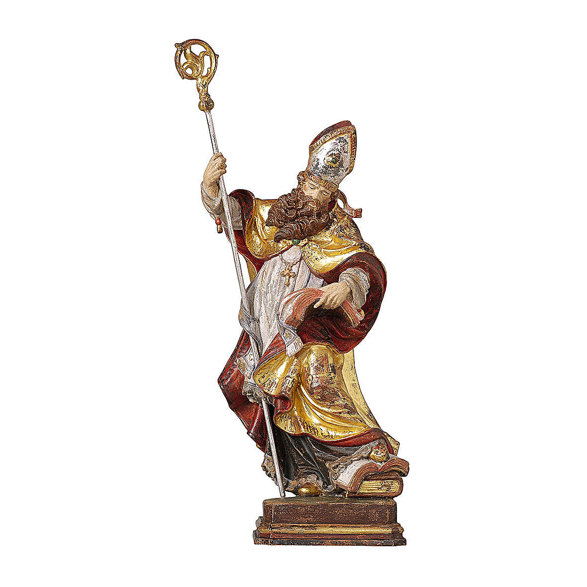 Bishop with pure gold mantle in wood Valgardena 4