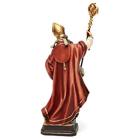 Saint Ambrose with beehive in coloured wood of Valgardena s5