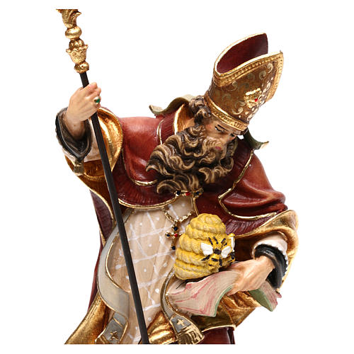 Saint Ambrose with beehive in coloured wood of Valgardena 2