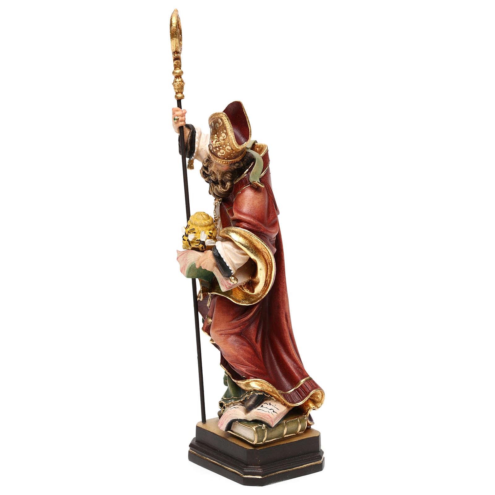 Święty Ambroży z ulem drewno kolorowe Val Gardena 4