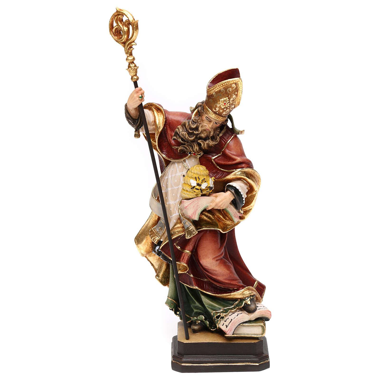 Santo Ambrósio com colméia madeira corada Val Gardena 4