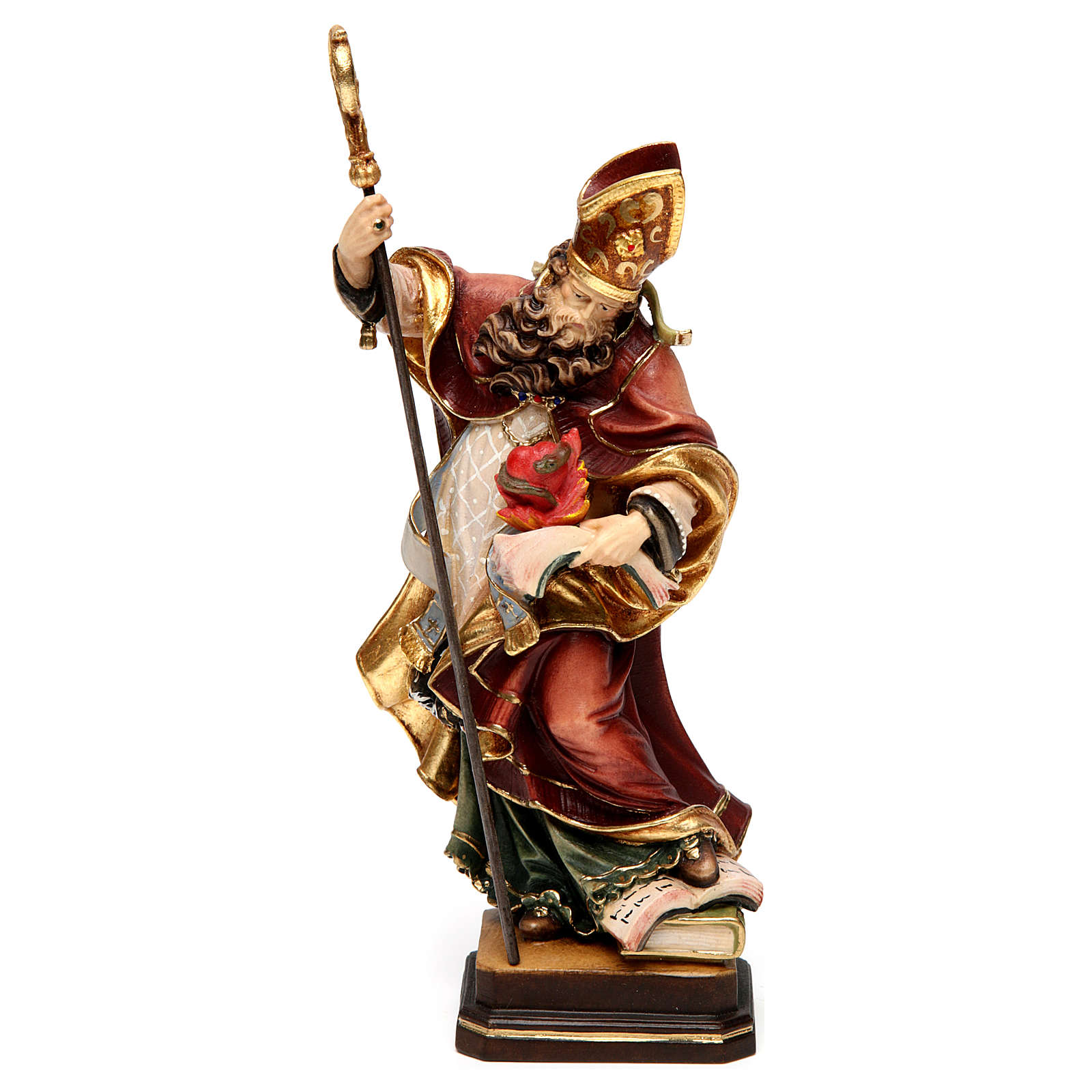 Saint Augustine with heart in coloured wood of Valgardena 4