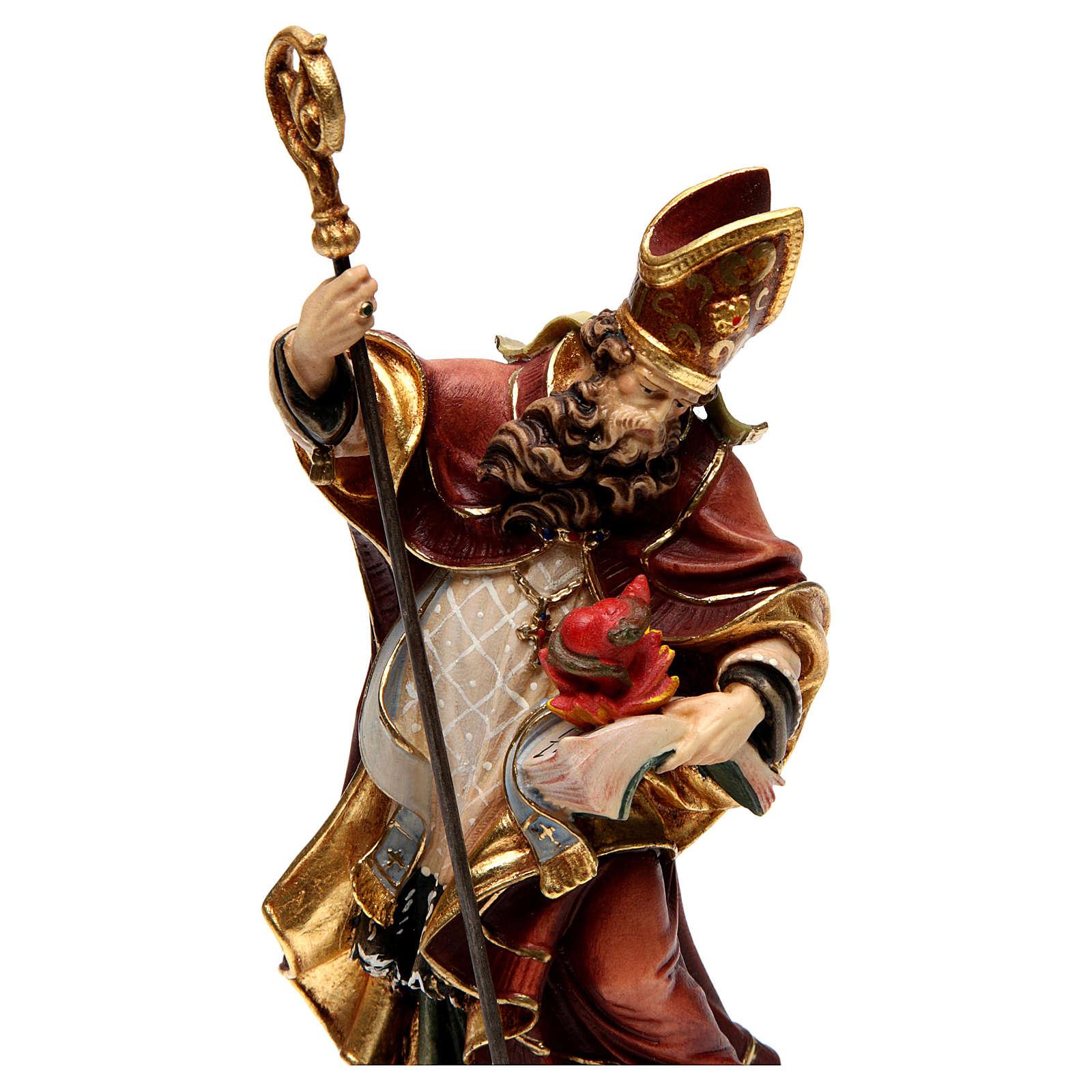 Saint Augustin avec un coeur bois coloré Val Gardena 4