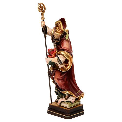 Saint Augustin avec un coeur bois coloré Val Gardena 3