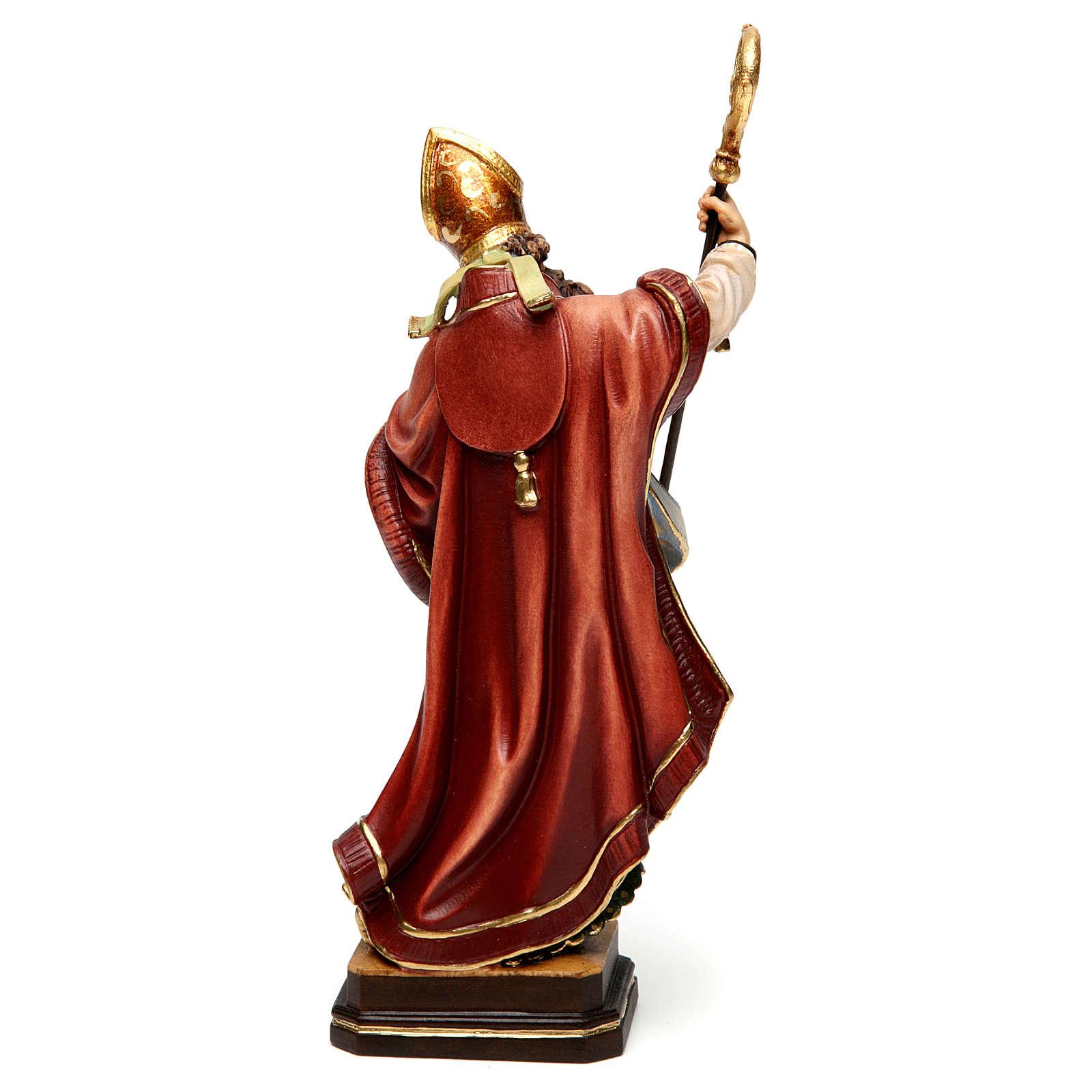 Sant'Agostino con cuore legno colorato Valgardena 4