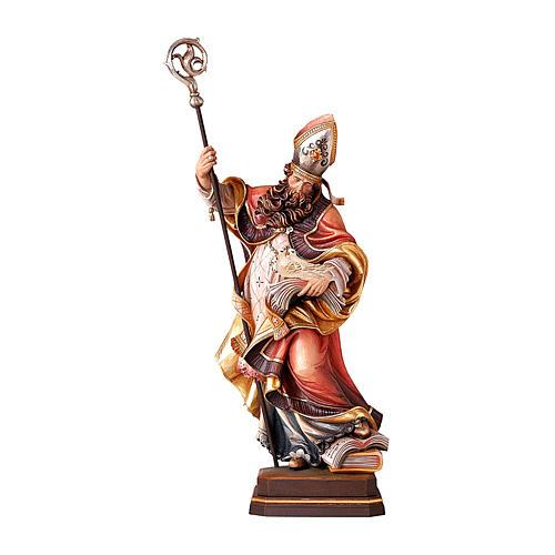 Sant'Eugenio con colomba legno colorato Valgardena 1