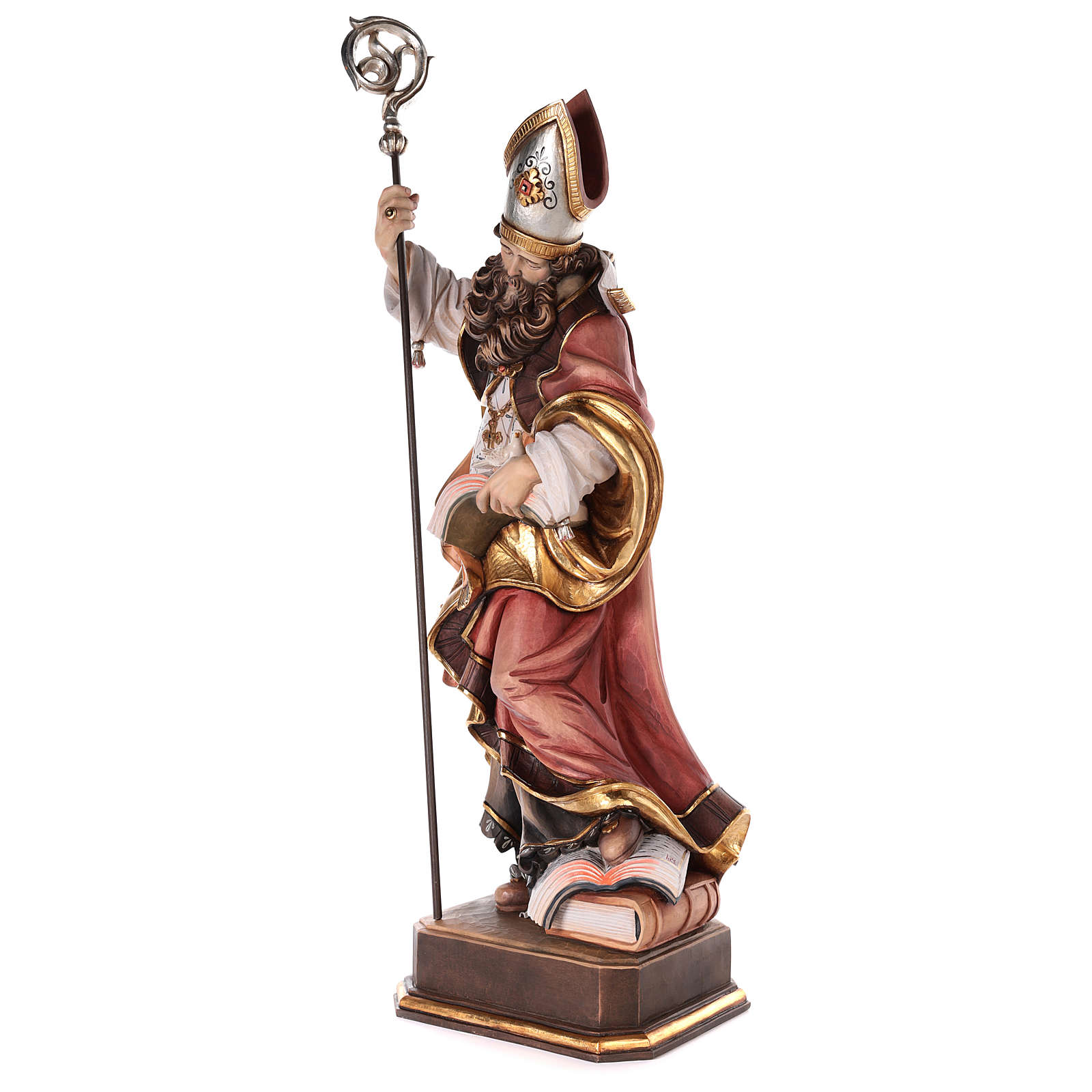 Valgardena coloured wooden statue of Saint Gregory with dove 4