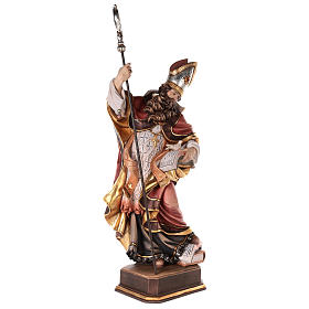 Valgardena coloured wooden statue of Saint Gregory with dove s5