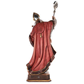 Valgardena coloured wooden statue of Saint Gregory with dove s6