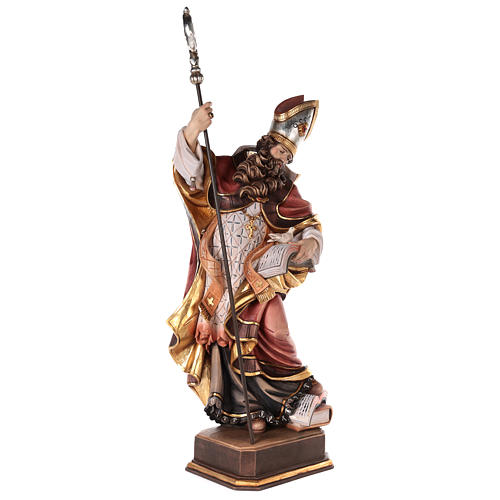 Valgardena coloured wooden statue of Saint Gregory with dove 5