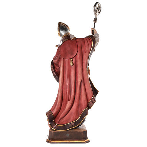 Valgardena coloured wooden statue of Saint Gregory with dove 6
