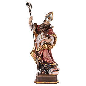 Hand painted wooden statues: Valgardena coloured wooden statue of Saint Gregory with dove