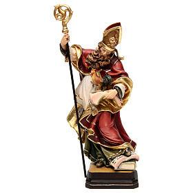 Statues en bois peint: Saint Valentin avec coq bois coloré Val Gardena