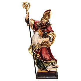 Hand painted wooden statues: Coloured wooden statue of Saint Valentine with rooster Valgardena