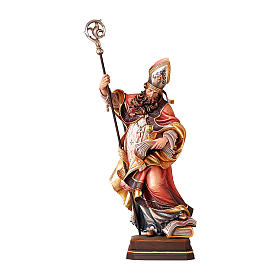 Hand painted wooden statues: Saint Norbert with chalice in coloured wood of Valgardena