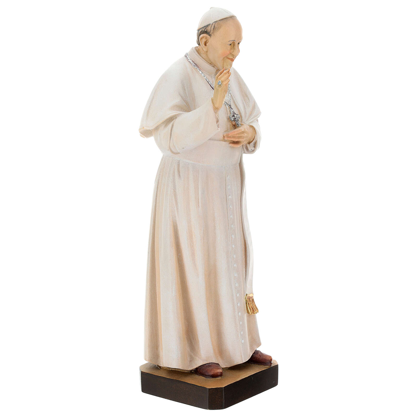 Statue of Pope Francis in painted maple wood of Valgardena 4