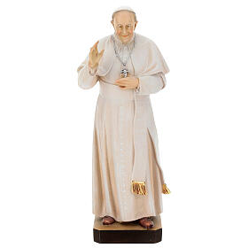 Statue of Pope Francis in painted maple wood of Valgardena s1