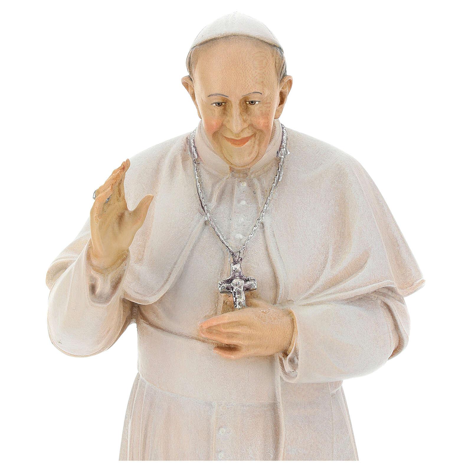 Pape François peint bois érable Val Gardena 4