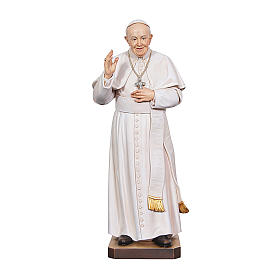 Hand painted wooden statues: Statue of Pope Francis in painted maple wood of Valgardena