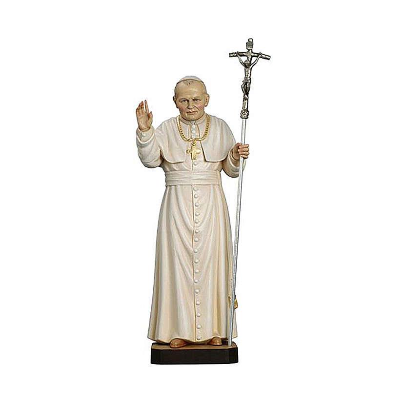 Papa Juan Pablo II pintado madera arce Val Gardena 4