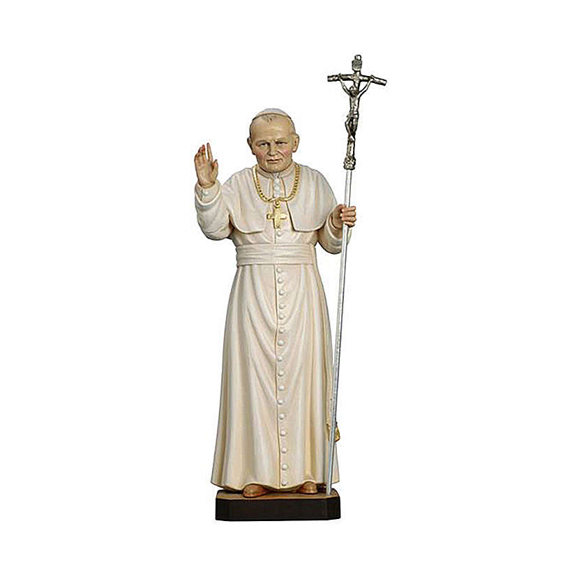 Papa Giovanni Paolo II dipinto legno acero Valgardena 4