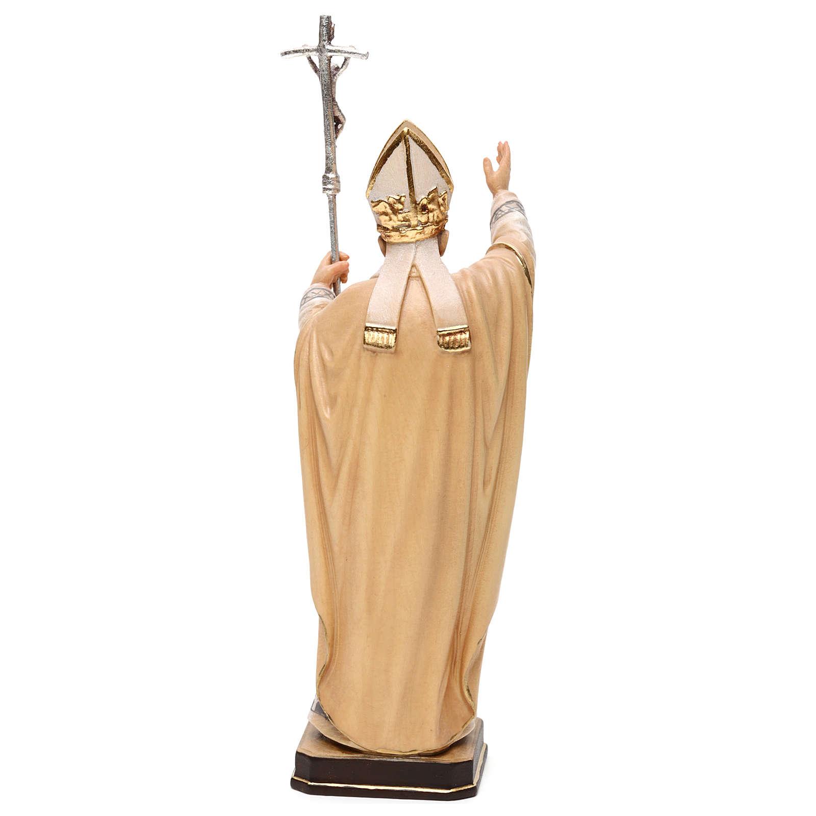 Papa Juan Pablo II con mitra pintado madera arce Val Gardena 4